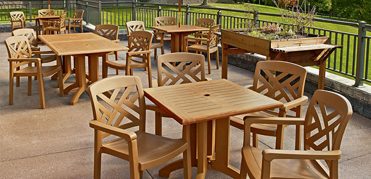 Grosfillex Teakwood Outdoor Dining Set