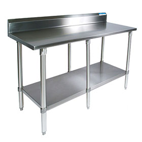 BK SVTR Worktable Wide X Deep Riser Back - 18 wide stainless steel work table