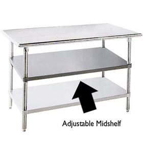 Advance Tabco SS Stainless Steel Work Table W X D - Stainless steel table top shelves