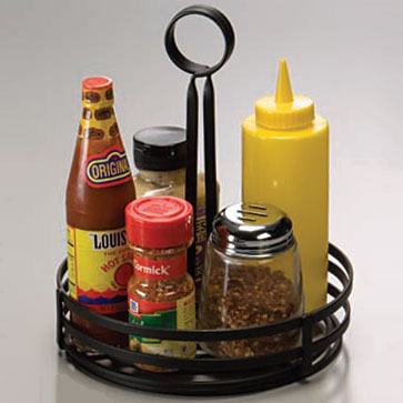 Winco WBKHSB Condiment Caddy Straight Back Black Wire - Table top caddies for restaurants