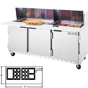 Beverage air spe72 24m mega sandwich prep table three for Table th width not working