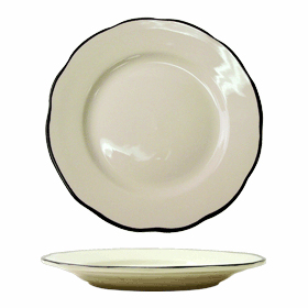 Black Lined Scalloped Dinner Plate  sc 1 st  ZESCO.com & ITI China SY-16 Wide Rim Black Line Scalloped Plate 10-3/4\