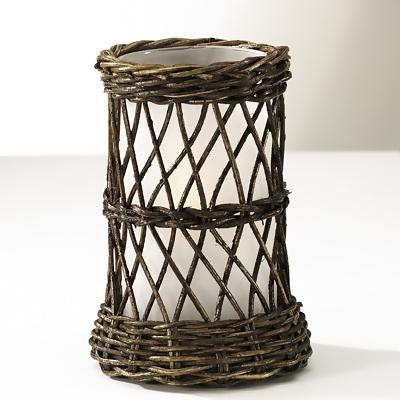 Brown Wicker with Frosted Cylinder