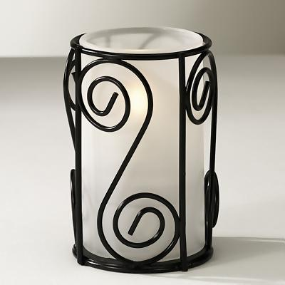 Swirl Wire Lamp Base - Gloss Black