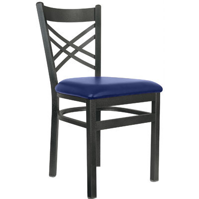 Cross Back Metal Frame Chair
