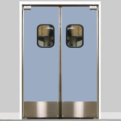 Eliason lwp 6 56dbl dr 56 double door opening easy swing kitchen door laminated aluminum - Commercial double swing doors ...