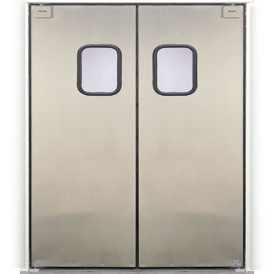 Eliason scp 3 60dbl 60 double door opening easy swing kitchen door 20 gauge stainless - Commercial double swing doors ...
