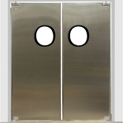 Eliason dsp 3 pr72x84 72 double door opening easy swing kitchen door 16 gauge stainless - Commercial double swing doors ...