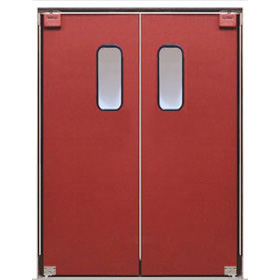 Eliason p 11 plus 56x84 56 double door opening easy swing kitchen door textured polymer - Commercial double swing doors ...