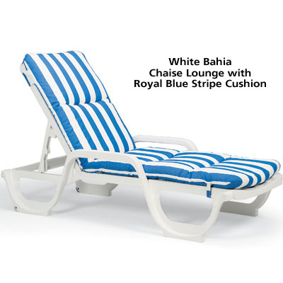 White Bahia Chaise Lounge with Cushion