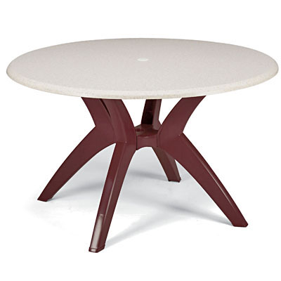 Umbrella Ready Tabletop with Y Leg BaseGrosfillex 998810   Molded Melamine Table Top   42  Round   Patio  . Patio Furniture With Umbrella Hole. Home Design Ideas
