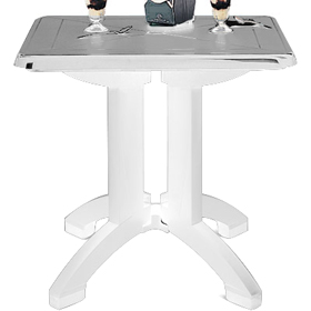 "Vega 32"" Square Folding Table, White"
