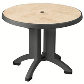 "Siena 38"" Round Umbrella Ready Table, Charcoal"