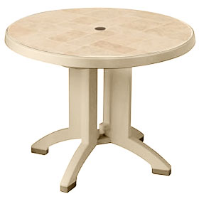 "Siena 38"" Round Umbrella Ready Table, Sandstone"