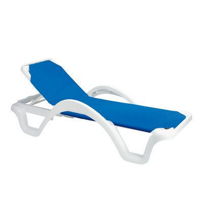 Chaise lounge chairs outdoor furniture for Blue sling chaise lounge