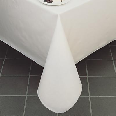 Lovely Pearlized Linen Vinyl Tablecloth, White