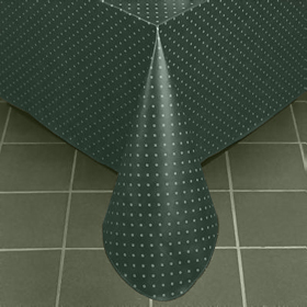 Aster Pattern Vinyl Tablecloth, Forest Green