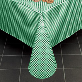 Gingham Check II Vinyl Tablecloth, Forest Green