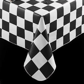 Merveilleux Checkered Flag Pattern Tablecloth, Black