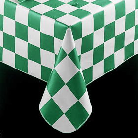 ... Checkered Flag Pattern Tablecloth, Forest Green ...