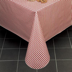 ... Gingham Check Vinyl Tablecloth, Red