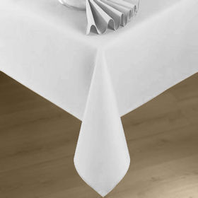 White linen table cloths