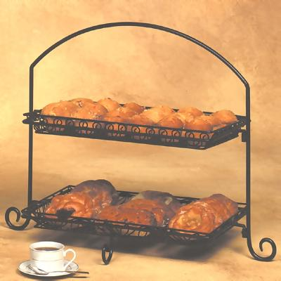 Two Tier Wrought Iron Display & American Metalcraft IS12 - 2-Tier Platter Stand - Black Wrought Iron ...
