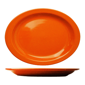 Cancun Narrow Rim Platter, Orange
