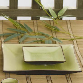 ... Golden Green Square Plate & CAC China 666-8 - 9