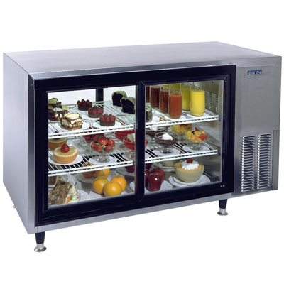 es v countertops in curved cabinet drop countertop s p case display polo glass refrigerated