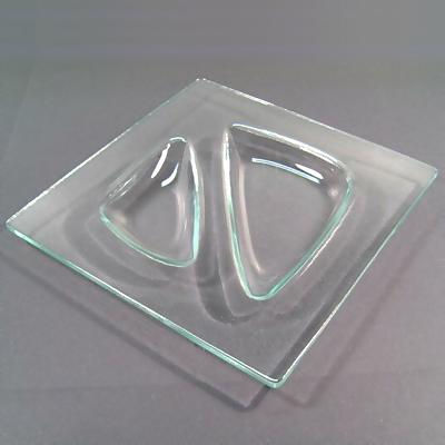 Clear Glass Duo Offset Square Plate & 8\