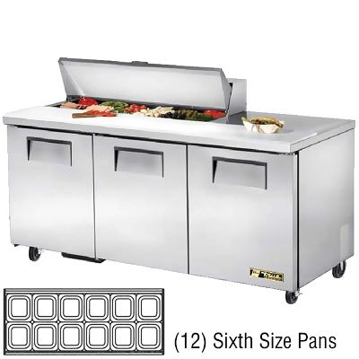 True tssu 72 12 sandwich prep table three door 72 3 for Table th width not working
