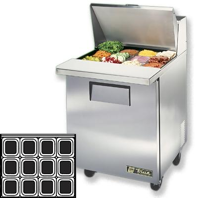 True TSSUMC Mega Sandwich Prep Table One Door W - True refrigerated prep table