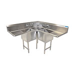 BK BKCS-3-18-14-24T - Corner Sink - Three Compartment