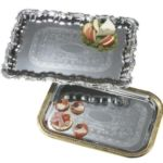 "Carlisle 608908 - 18"" x 12-3/4"" Rectangle Tray with Gold Border"