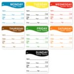 """Day Mark 11005 - 2"""" x 2"""" Day-of-Week Food Labels"""