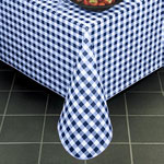 "Marko 5153-86 - 86"" Round Gavin Check Vinyl Tablecloth"