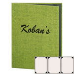 "Risch RATTAN-3V-8.5x11 - Menu Covers - 8-1/2"" x 11"" - Three Panel"