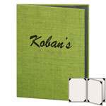"Risch RATTAN-4V-8.5x11 - Menu Covers - 8-1/2"" x 11"" - Three Panel"