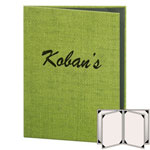 "Risch RATTAN-6V-8.5x11 - Menu Covers -8-1/2"" x 11""  - Four Panel"