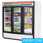 True GDM-72-LD - Three Swing Glass Door Cooler Merchandiser