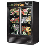 True GDM-47FC-LD-MIRRDBACK - Two Sliding Door Floral Merchandiser Cooler