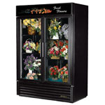 True GDM-49FC-LD-MIRRDBACK - Two Swing Door Floral Merchandiser Cooler