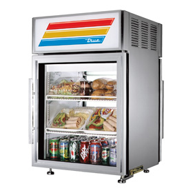 True GDM-5-PT-S-LD - Countertop Glass Door Refrigerator - Pass Thru