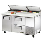 True TPP-67D-2R - Pizza Prep Table - One Door Left - Two Drawers Right