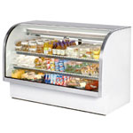 "True TCGG-72 - 72"" Curved Glass Refrigerated Display Case"