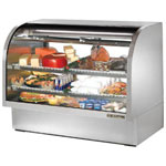 "True TCGG-60S - 60"" Curved Glass Refrigerated Display Case"